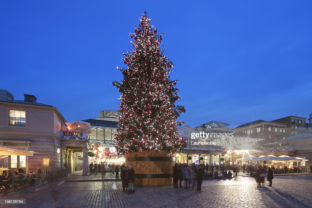 England Christmas Tree.Christmas Tree In Covent Garden London England High Res