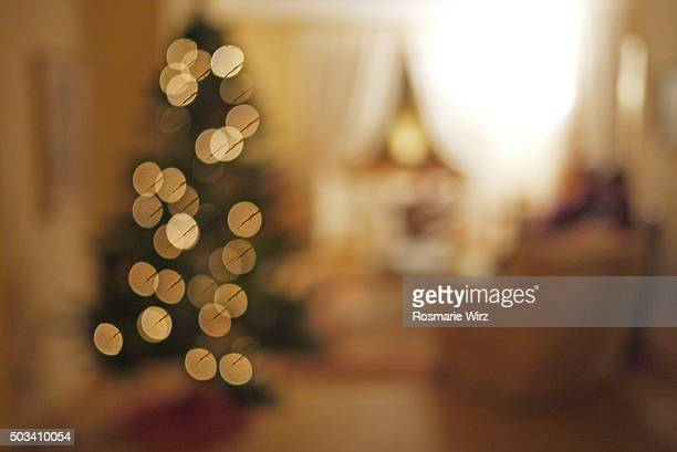 Christmas tree in drawing room, blurred image
