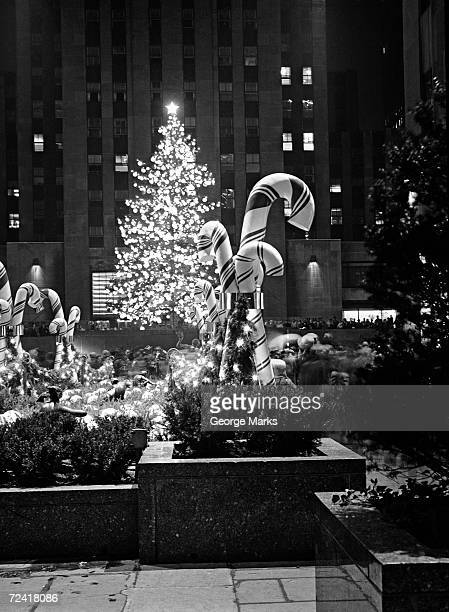 Christmas tree in front of Rockefeller Centre at night, New York City, USA, (B&W)