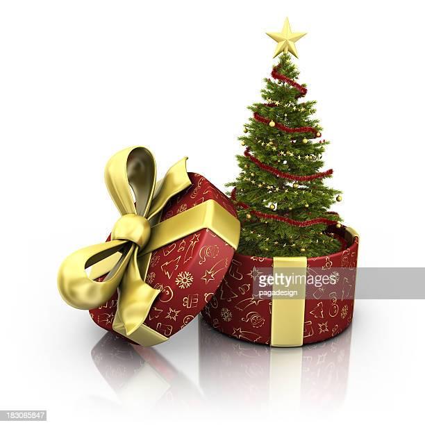 Arbre de Noël avec une boîte à cadeaux