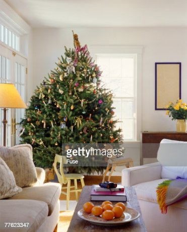 christmas tree in living room photos tree in living room stock foto getty images 24415