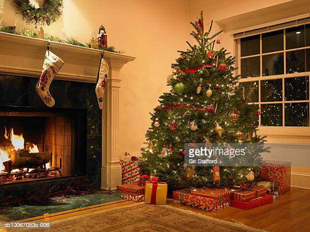 christmas tree in living room - christmas tree stock pictures, royalty-free photos & images