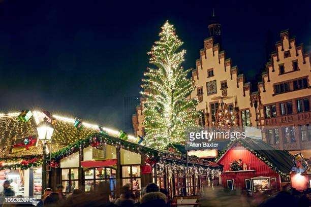 Christmas tree in the old square of Romerberg in Frankfurt