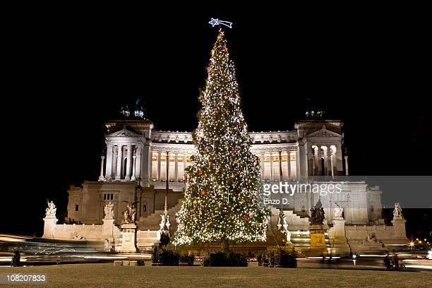 christmas tree in venezia square, rome, italy - natale di roma foto e immagini stock
