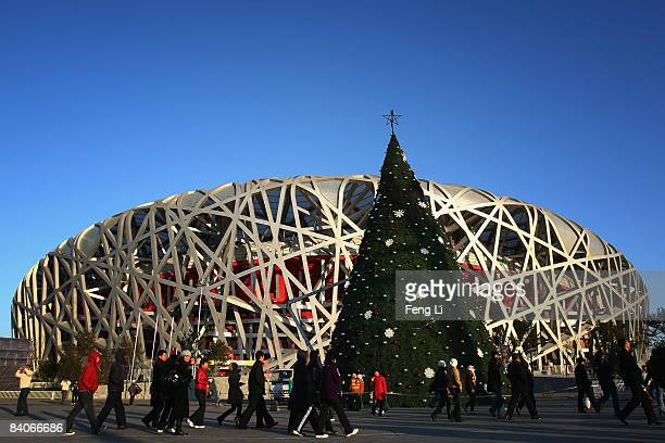 "Christmas tree is displayed in front of the National Stadium, known as ""Bird's Nest"", for the upcoming Christmas celebrations on December 17, 2008 in..."