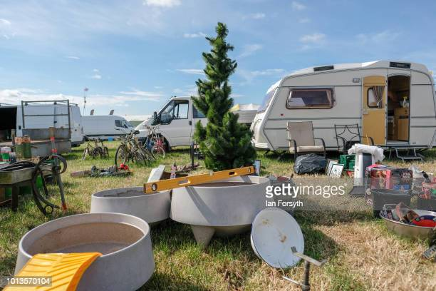Christmas tree is offered for sale with other items at a stall during the final day of the Whitby Traction Engine Rally on August 5, 2018 in Whitby,...
