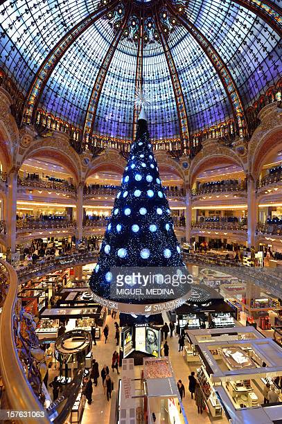 A christmas tree is pictured on December 4 2012 at the Galeries Lafayette Paris department store ahead of the Christmas celebrations AFP PHOTO MIGUEL...