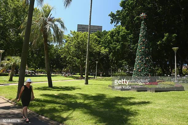 Christmas tree is seen in Hyde Park on December 18 2015 in Sydney Australia
