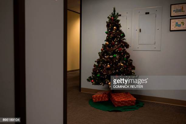 A Christmas tree is seen in the offices at Advertising Specialty Institute December 14 2017 in Trevose Pennsylvania The Christmas party at the...