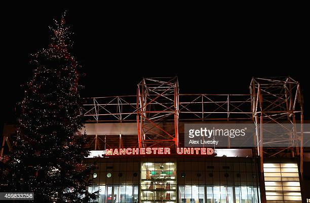 A christmas tree is seen outside Old Trafford prior to the Barclays Premier League match between Manchester United and Stoke City at Old Trafford on...