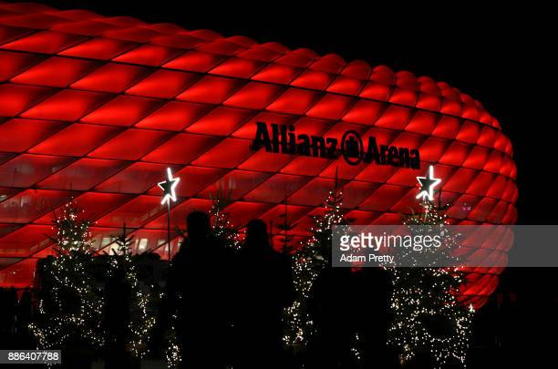 Christmas tree is seen outside the stadium prior to the UEFA Champions League group B match between Bayern Muenchen and Paris SaintGermain at Allianz...