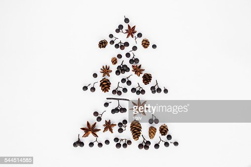 Christmas Tree Made From Pine Cones Berries And Star Anise
