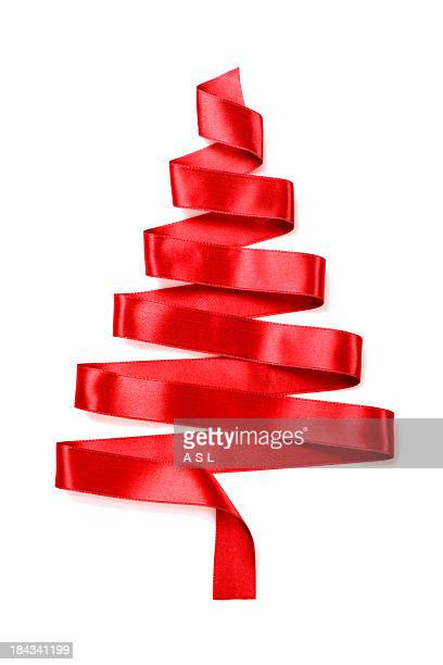 christmas tree made of a red ribbon - ribbon stock pictures, royalty-free photos & images