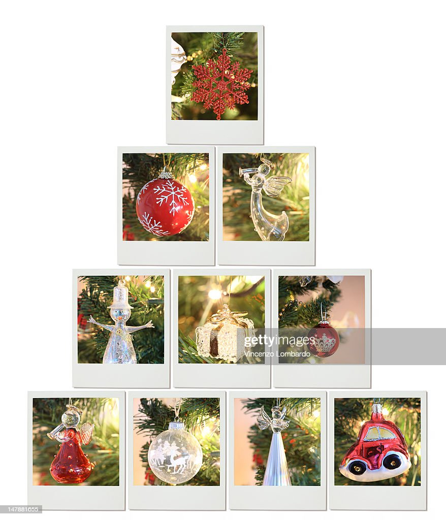Christmas Tree Made Of Instant Photo Prints Stock Photo | Getty Images