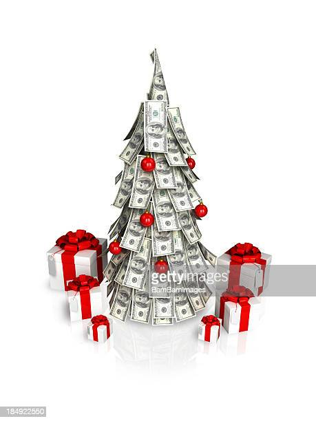 a christmas tree made of money with red ornaments - christmas cash stock pictures, royalty-free photos & images