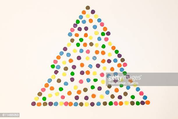 Christmas Tree Made Of Multi Colored Dots On White Background