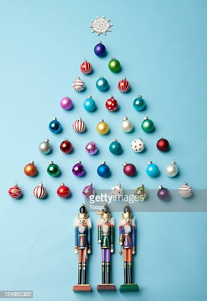christmas tree made of ornaments - christmas still life stock pictures, royalty-free photos & images