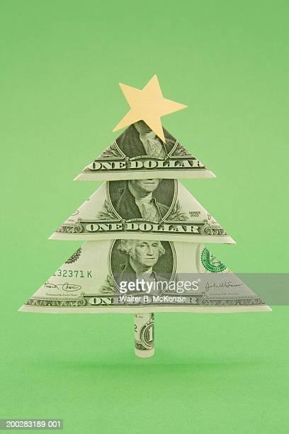 Christmas tree made of US dollar bills