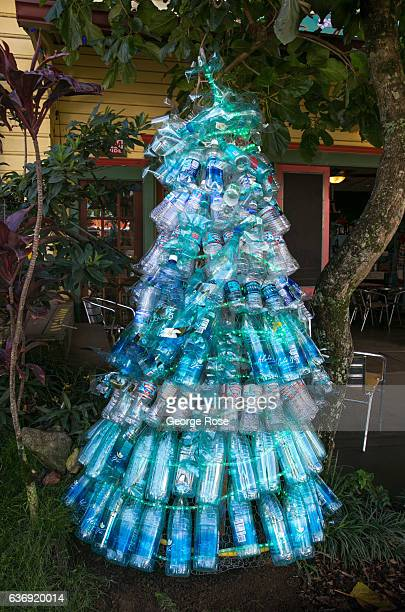 Christmas tree made out of plastic water bottles is viewed on December 17 near Kapaau on the Kohala Coast Hawaii Hawaii the largest of all the...