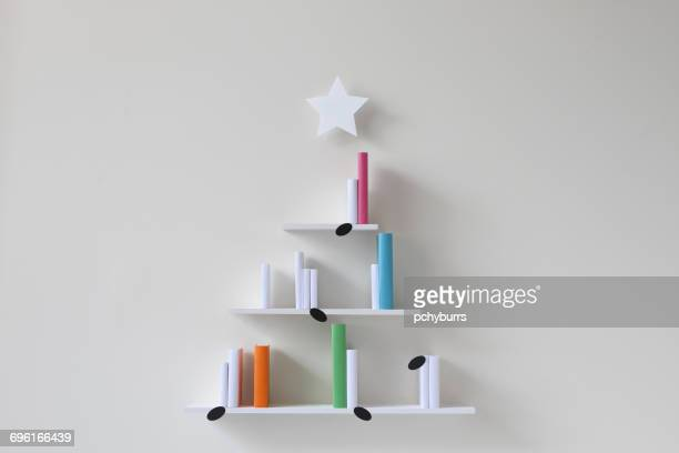 Christmas tree musical bookshelves