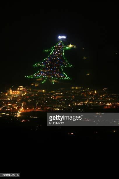 Christmas tree on Gubbio. Umbria. Italy.