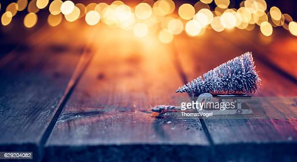 Christmas tree on sledge - Defocused Decorations Blue Gold Wood