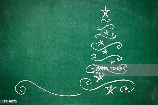 黒板にクリスマスツリー
