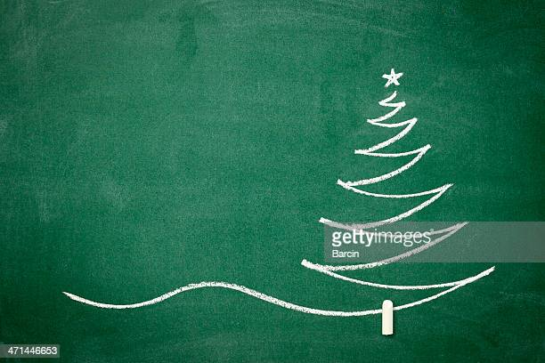 Christmas tree on the blackboard
