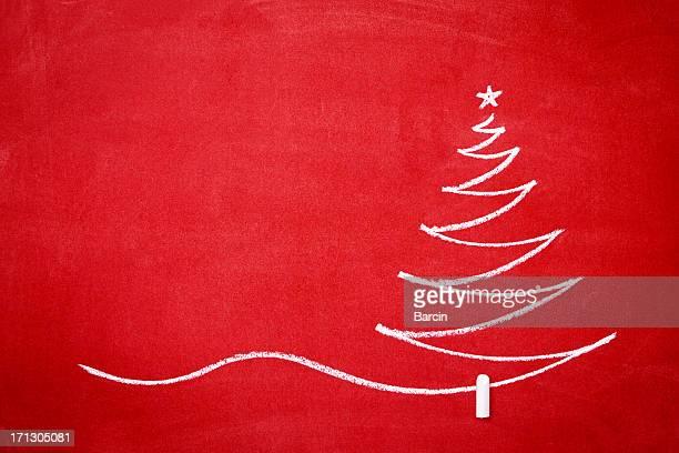 albero di natale sul redboard - cartolina di auguri foto e immagini stock