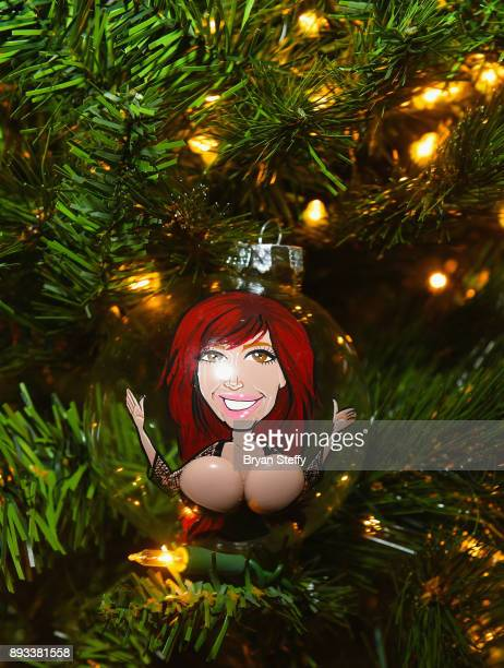 Christmas tree ornament with a likeness of television personality Farrah Abraham is displayed during the Crazy Horse III Gentlemen's Club's NEON Flow...