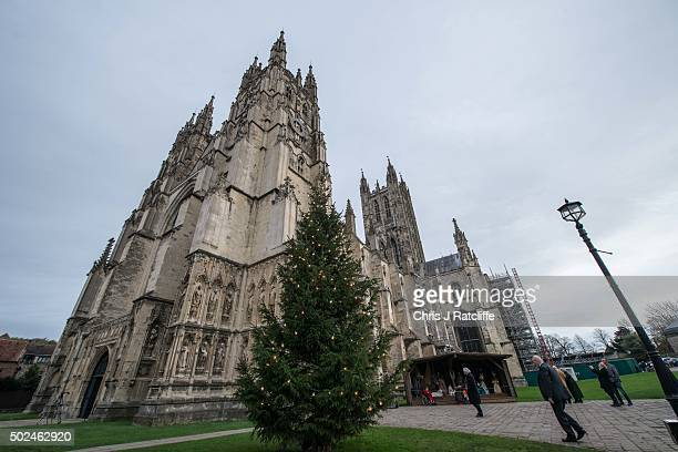 Christmas Tree outside Canterbury Cathedral before the Archbishops surmon on December 25 2015 in Canterbury England His Grace was unable to deliver...