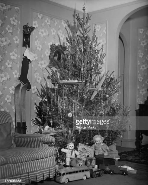 christmas tree - noel noir et blanc photos et images de collection