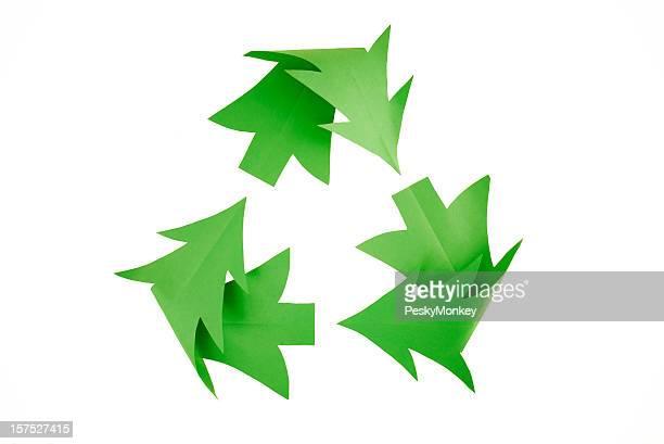 Albero di natale Simbolo del riciclaggio su bianco