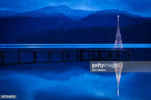 christmas tree reflecting in lake - mere noel stock pictures, royalty-free photos & images