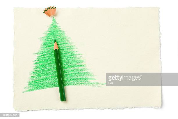 Christmas Tree Sketch with green pencil
