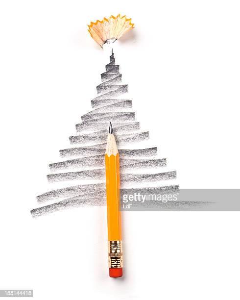 クリスマスツリー、鉛筆スケッチ