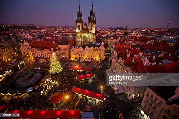 A christmas tree stands at the Christmas market at the Old Town Square on December 2 2013 in Prague Czech Republic Christmas markets traditionally...