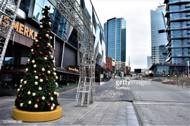 A Christmas tree stands in front of a shopping mall in the business and financial district of Sogutozu in Ankara Turkey on January 3 2019