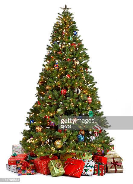 Christmas tree surrounded by presents on white background