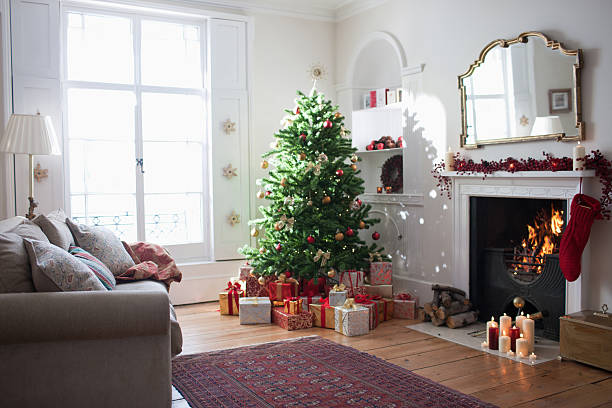 Christmas tree surrounded with gifts