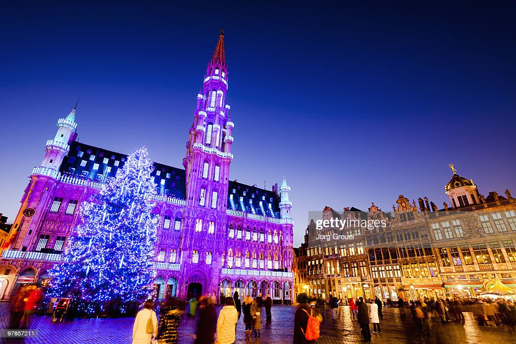 Christmas tree, Town Hall on Grand Place (dusk) : Stock Photo
