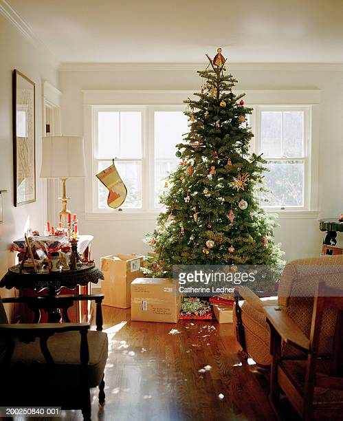 Christmas tree with decoration and presents