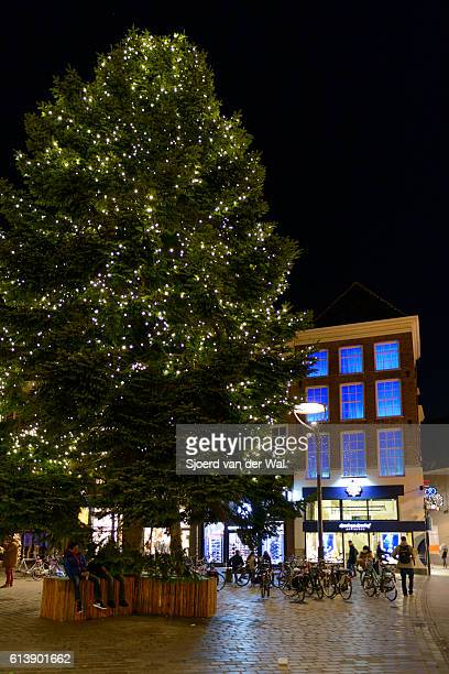 """christmas tree with decorations in a shopping street at night - """"sjoerd van der wal"""" or """"sjo"""" stock pictures, royalty-free photos & images"""