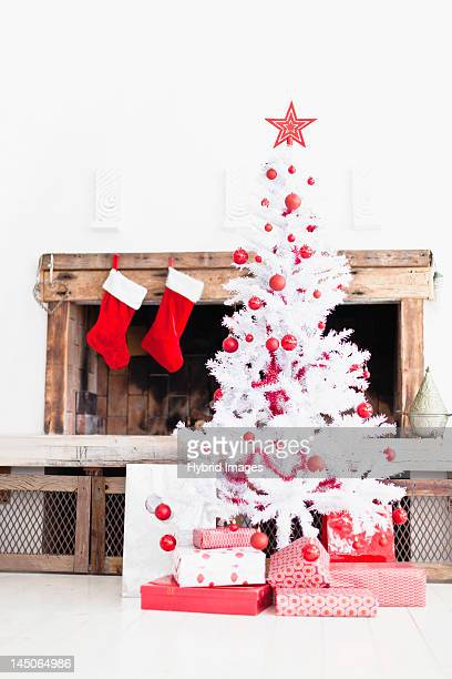 Christmas tree with gifts and stockings