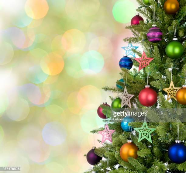 Christmas Tree with Multi-Colored Baubles and Star Decorations