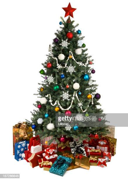 Christmas tree with ornaments and presents isolated on white