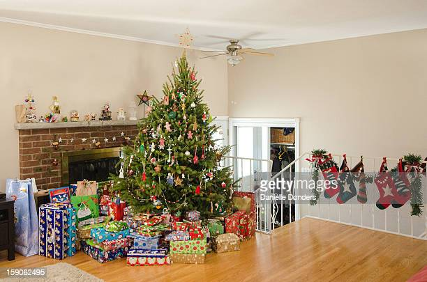 Christmas tree with presents and stockings
