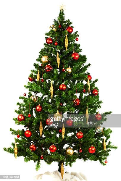 Christmas tree with red and yellow ornaments on white