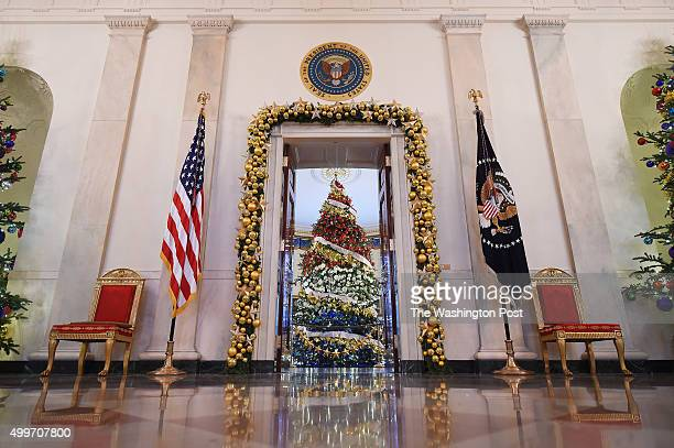 Christmas tree within the Blue Room is seen at the White House on Wednesday December 02 2015 in Washington DC