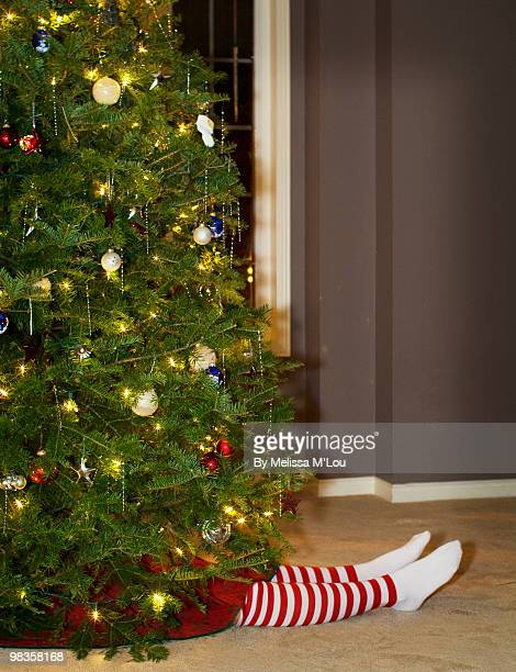 christmas tree witt  woman  - funny christmas stock photos and pictures
